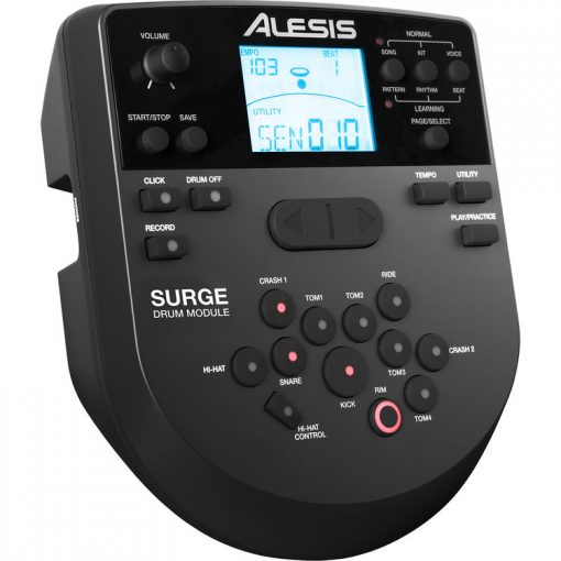 Alesis SURGE MESH KIT Eight-Piece Electronic Drum Kit with Mesh Heads +Drum Throne +Samson Stereo Headphones+ Instrument Cable+ Stereo Interconnect Cable+ 1/8 Inch to Dual RCA Adapter Cable+ Drumsticks