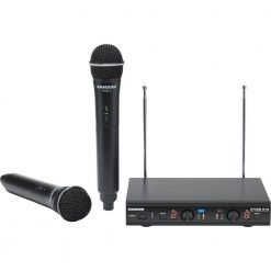 Samson Stage 212 Dual Vocal VHF Frequency Agile Wireless System (2) Q6 Dynamic Mics