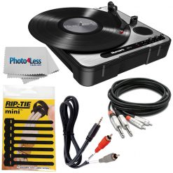 Numark PT01 USB |Portable Vinyl-Archiving Turntable for 33 1/3, 45, & 78 RPM Records + Cable + Rip-Tie + Cleaning Cloth