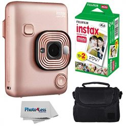 Fujifilm Instax Mini LiPlay Hybrid Instant Camera (Blush Gold) Bundle
