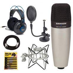 Samson Studio Condenser Mic C01 + Stand + Headphones + Shock Mount
