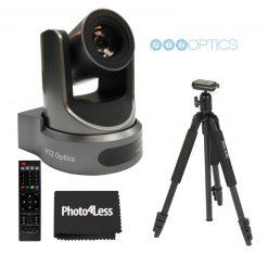 PTZOptics 20X-USB Video Conferencing Camera, Camera + Slik Sprint 150 Aluminum Tripod with SBH-150DQ Ball Head