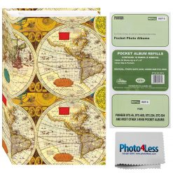 "Pioneer Photo Album 4""X6""  3-Ring Binder Album World Map Holds 504 Photos"