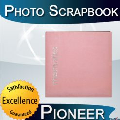Pioneer 12 Inch by 12 Inch Postbound Faux Suede with Rhinestone Appliques Memory Book Pink