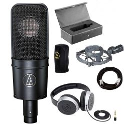Audio-Technica AT4040 Cardioid Condenser Microphone + Samson SR550 Over-Ear Studio Headphones + On Stage Mic Cable, 20 ft. XLR Bulk – Cool Music Bundle!