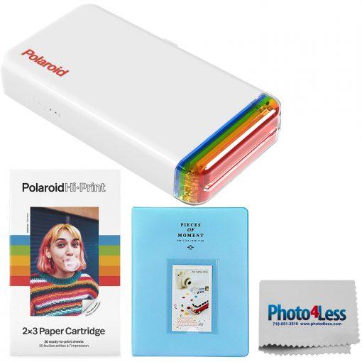 Polaroid Hi-Print 2×3 Pocket Photo Printer + Hi-Print – 2X3 Paper Cartridge 20 sheets + Light Blue Album + Cloth