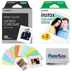 Fujifilm Instax Square Monochrome Film (10 Sheets) + Square Film (20 Exposures) + Hanging Frames + Cloth