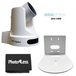 PTZOptics 20x-USB Gen 2 Live Streaming Camera, White with Wall Mount Bracket