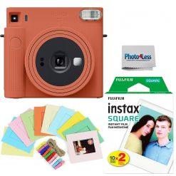 Fujifilm Instax Square SQ1 Terracotta Orange Instant Camera + Twin Pack Film + Hanging Frames