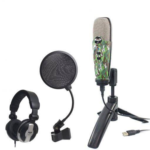 CAD Audio U37 USB Studio Condenser Vocal,Instrument & Recording Microphone, Camouflage With CAD Audio 6 Pop Filter on Gooseneck + CAD Audio MH110 Studio Monitor Headphones