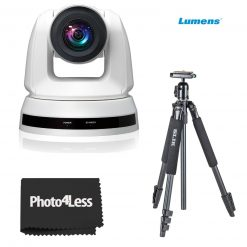 Lumens 20x Optical Zoom PTZ Video Conferencing Camera, White with Slik Sprint 150 Aluminum Tripod with SBH-150DQ Ball Head