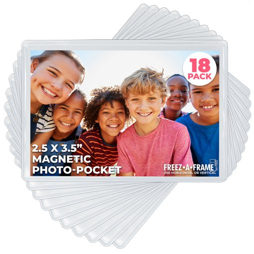 """Freez-A-Frame Clear Magnetic Photo Frames 2.5 """" x 3.5″ (Pack of 18)"""