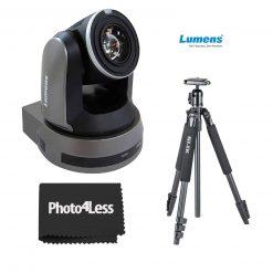 Lumens 30x Optical Zoom 4K, IP PTZ Video Camera, Black + Slik Sprint 150 Aluminum Tripod with SBH-150DQ Ball Head