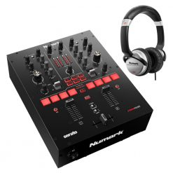 Numark Professional Scratch 24-Bit 2-Channel Scratch Mixer + HF125 Professional DJ Headphones
