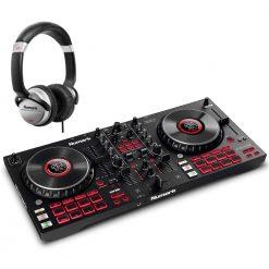 Numark Professional Mixtrack Platinum FX 4-Deck Advanced DJ Controller with Jog Wheel Displays and Effects Paddles + HF125 Professional DJ Headphones