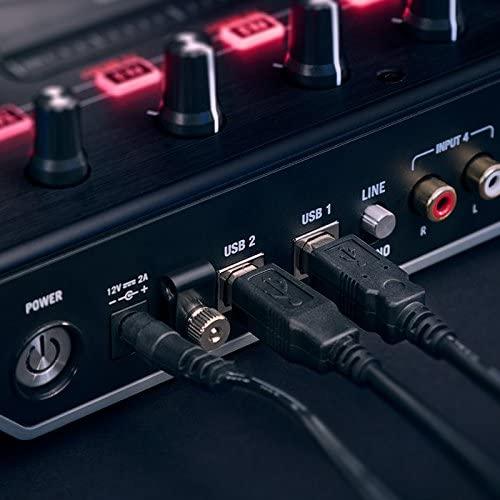 Numark Professional NS6II 4-Channel Premium DJ Controller + Red Wave Carbon High-Quality Full-Range Headphones
