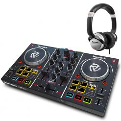 Numark Professional Party Mix DJ Controller with Built In Light Show + HF125 Professional DJ Headphones
