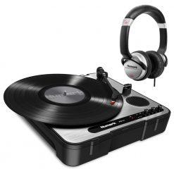 Numark Professional PT01 USB Portable Vinyl-Archiving Turntable + HF125 Professional DJ Headphones