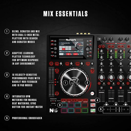 Numark Professional NVII Intelligent Dual-Display controller for Serato DJ +  Red Wave Carbon High-Quality Full-Range Headphones