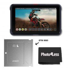 "Atomos Ninja V 5"" Touchscreen Recording Monitor With Atomos Angelbird ATOM X SSDmini 2 TB External Solid State Drive"