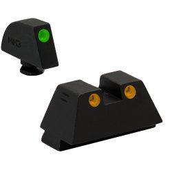 MEPROLIGHT Fixed Self Illuminated TRU-DOT Night Sight for Glock 9/357 Sig 40/45GAP, Suppressor Height - Green/Orange