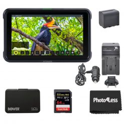 Atomos Shinobi 5-inch HDMI 4K Monitor + Xit AC/DC Home & Travel Charger for NP-F970 Batteries+ Xit 7800mAh Lithium Ion Replacement Battery For Sony NP-F970+ Bower Memory Card Hardcase+ SanDisk 64GB