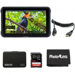 """Atomos Shinobi 5-inch HDMI 4K Monitor+ Atomos Full HDMI to Full HDMI Coiled Cable (11.8 to 17.7"""")+ Bower Memory Card Hardcase+ SanDisk 64GB Extreme PRO SDXC UHS-I Card"""