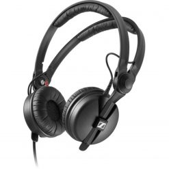 Sennheiser HD 25 PLUSClosed-back, on-ear professional monitoring headphones with split headband, rotatable ear cup, and coiled cable (1.5m), delivered with an additional straight cable, extra pair of ear cushions, and a protective pouch.