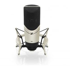 Sennheiser MK 8Large-diaphragm micophone (five selectable polar patterns, true condenser) with 3-position switchable low cut/rolloff filter and 3-position pad switch. Features 24-carat-gold-plated capsule, metal housing, internal capsule shockmount and 3