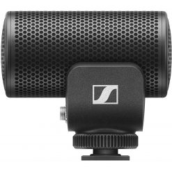 Sennheiser MKE 200Compact, super-cardioid on-camera microphone with built-in wind protection and shock absorption for enhanced in-camera audio. Includes carrying pouch, fur windshield, and 3.5mm TRS and TRRS coiled cables for compatibility with DSLR and