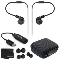 Audio-Technica ATH-E40 Professional In-Ear Monitor Headphones + Cable + Cloth
