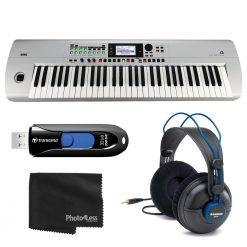 Korg i3MS Music Workstation 61 Key Arranger Keyboard- Matte Silver + Headphones + More
