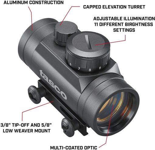 Tasco 1x30mm Pro Point Black 5 MOA Red Dot Rifle Scope - TRD130T