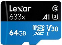 Lexar 64GB High-Performance 633x UHS-I microSDXC Memory Card with SD Adapter