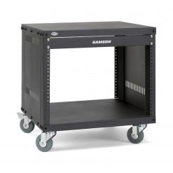 Samson SRK8 Universal Equipment Rack Stands 8 Space, 3-Inch Locking Casters Flanged Panel, 19-Inch, Black