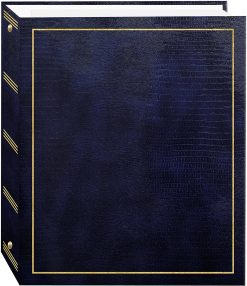 Pioneer Photo Albums Magnetic Self-Stick 3-Ring Photo Album 100 Pages (50 Sheets)- Navy Blue