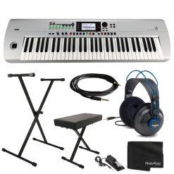 Korg i3MS Music Workstation 61 Key Arranger Keyboard- Matte Silver + Accessories