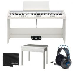 Korg B2SPWH 88-Key Digital Piano with Stand and Three-Pedal System (White) + Acc