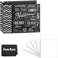 "Pioneer Photo Album 12""X12"" 3-Ring Binder Scrapbook 3-Ring Binder Printed ""Chalkboard Design ""Happiness""  + Refill Pages + Cloth"