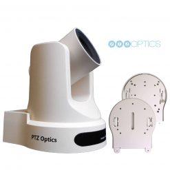 PTZOptics 20X Optical Zoom Live Streaming Broadcasting Camera With PTZ Camera Ceiling Mount | Universal Design (White)