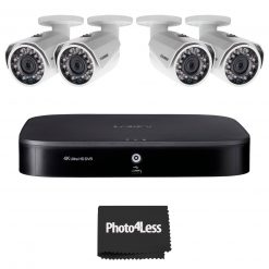 4 Lorex 1080p HD Weatherproof Night-Vision Series Wired Security Cameras + Lorex 4K Ultra HD 8 Channel Security DVR with Advanced Motion Detection Technology and Smart Home Voice Control, 2TB Hard Drive