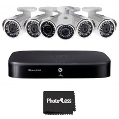 6 Lorex 1080p HD Weatherproof Night-Vision Series Wired Security Cameras+ Lorex 4K Ultra HD 8 Channel Security DVR with Advanced Motion Detection Technology and Smart Home Voice Control, 2TB Hard Drive