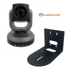 HuddleCamHD  HC30X-GY-G2 PTZ Camera (Gray) + HuddleCamHD HCM-1 Small Universal Wall Mount Bracket for Select Cameras , Black