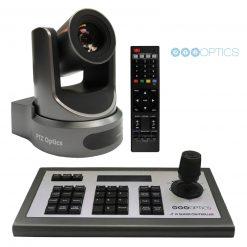 PTZOptics 30X-SDI Gen 2 Live Streaming Broadcast Camera, Gray+ PTZOptics 4D IP Joystick Controller