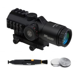 Sig Sauer BRAVO3 3x24mm Battle Sight, 5.56/7.62 Horseshoe Red Dot Reticle, Black + 2 Additional Batteries and Lens Cleaning Pen