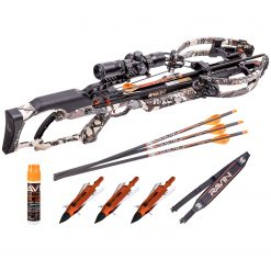 Ravin Crossbows R10 400 FPS Crossbow - Predator Camo + Aluminum Broadheads - Qty 3 + Padded Shoulder Sling and String Fluid