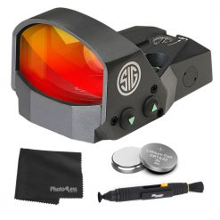 Sig Sauer ROMEO1 1X30mm Reflex Red Dot Sight, 3 MOA Red Dot Reticle - Black + 2 Additional Batteries and Lens Cleaning Kit