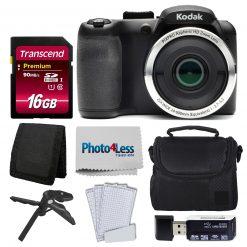 Kodak PIXPRO AZ252 Digital Camera (Black) + 16GB Memory Card + Accessories