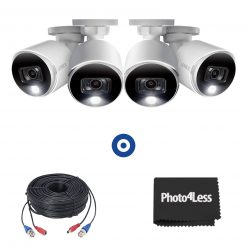 4K Ultra HD Active Deterrence Security Cameras, 4 Pack + 4 60ft (18m) Premium 4K RG59/Power Accessory Cables