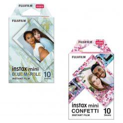 Fujifilm Instax Mini Blue Marble Film + Confetti Film - 10 Exposures Per Pack